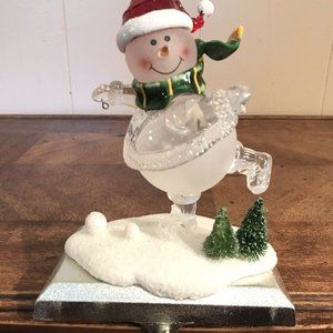 Vintage Christmas Stocking Snowman Hanger Holder